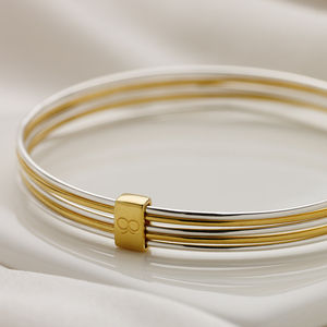 Ladies Silver And Gold Vermeil Slinky Bangle