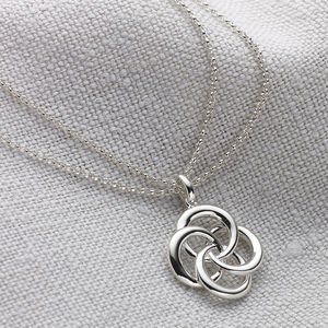 Ladies Silver Double Chain Love Knot Necklace - wedding jewellery