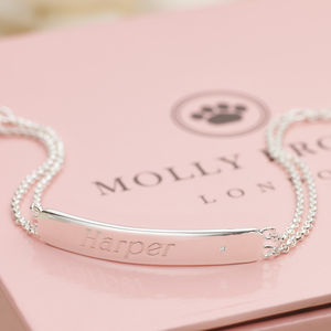 Personalised Child's Silver And Diamond Bracelet - wedding jewellery