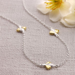 Gold Vermeil Three Honey Bee Silver Necklace