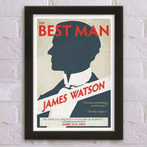 The Best Man Personalised Wedding Thank You Print - best man & usher gifts