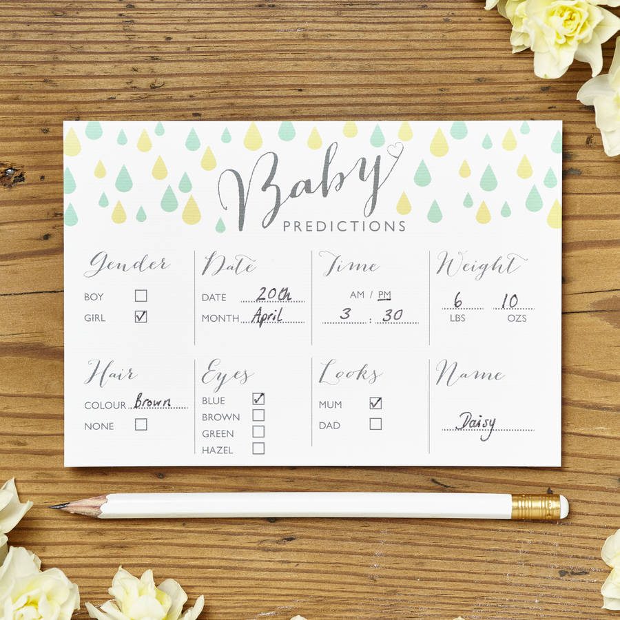 Baby shower prediction cards pack of eight by intwine design baby shower game kristyandbryce Gallery