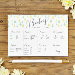Baby Shower Prediction Cards Pack Of Eight - new baby cards