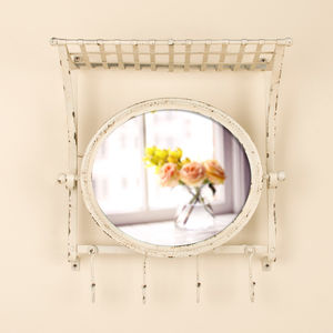 Wall Shelf With Hooks And Oval Mirror