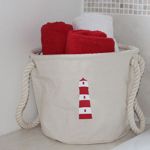 Home Storage Bag With A Lighthouse Design - bedroom