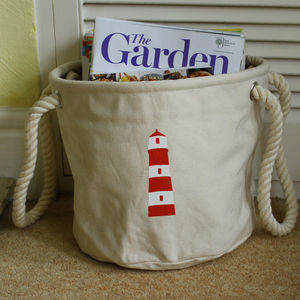Home Storage Bag With A Lighthouse Design - baskets