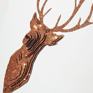 Framed 3D Sparkling Copper Stag Artwork - christmas home accessories