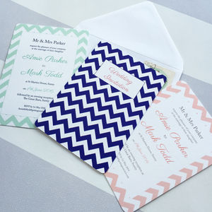 Chevron Wedding Invitation - wedding stationery