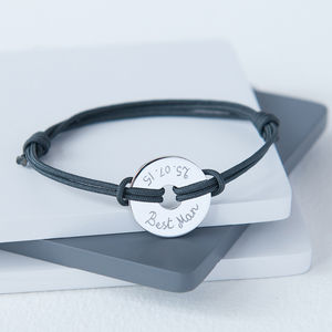 Best Man's Personalised Open Disc Bracelet - wedding thank you gifts