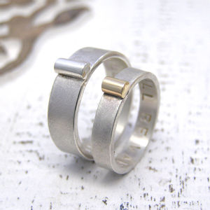 Personalised Silver And Gold His And Hers Rings - rings