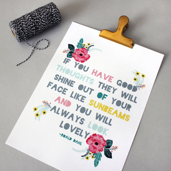 Floral Roald Dahl 'Good Thoughts' Quote Print