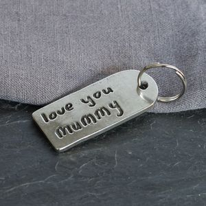 'Love You' Mummy Pewter Keyring