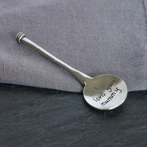'I Love You' Mummy Pewter Spoon