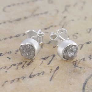 Rough Diamond Silver Stud Earrings - 60th anniversary: diamond