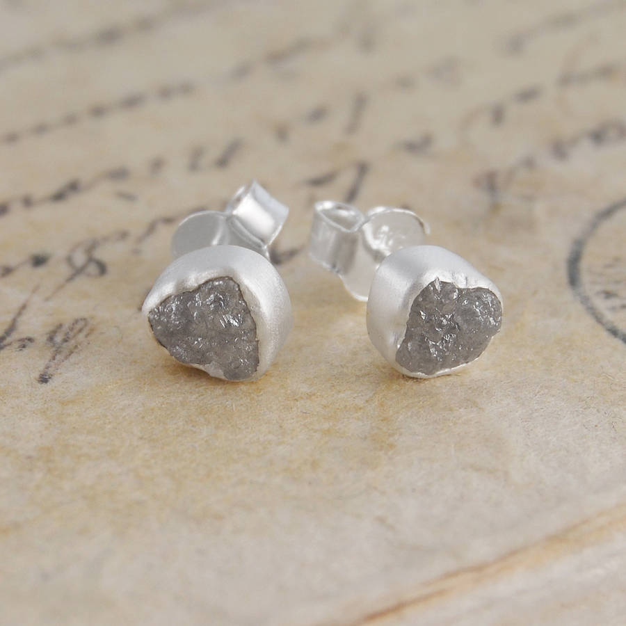 Silver Drop Diamond Earrings Rough Studs