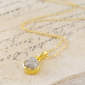 18 K Rough Diamond Gold Solitaire Birthstone Necklace - 60th anniversary: diamond