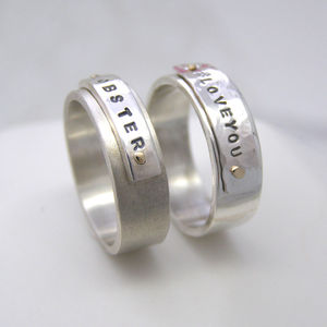 Personalised Silver And Gold Rivet Rings - rings