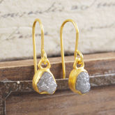 18 K Plated Diamond Gold Drop Earrings - fine jewellery
