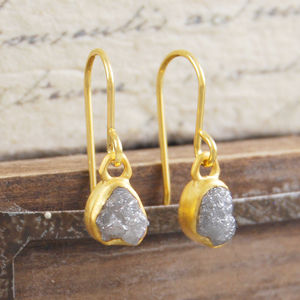 18 K Plated Diamond Gold Drop Earrings - earrings