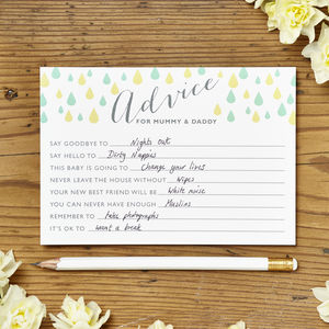 Baby Shower Advice Cards Pack Of Eight - baby shower gifts & ideas
