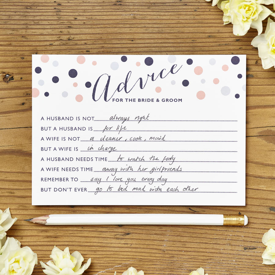 Marriage Advice Cards Pack Of Eight