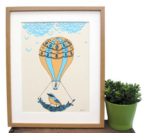 'Hot Air Balloon' Screen Print - posters & prints