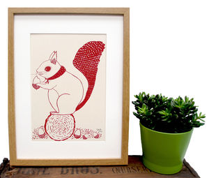 'Susie The Squirrel' Screen Print * On Sale* - canvas prints & art for children