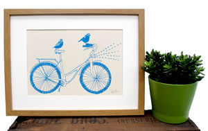'Birds Riding A Bike' Screen Print - posters & prints