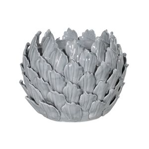 Round Grey Flower Ceramic Tea Light Holder
