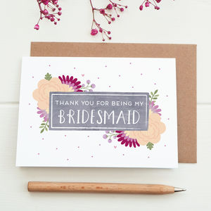 Thank You For Being My Bridesmaid Card - thank you cards