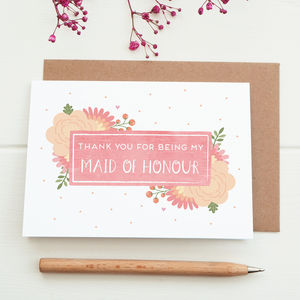 Thank You For Being My Maid Of Honour Card - wedding cards