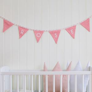 Girl's Pink Floral Personalised Bunting - children's room accessories