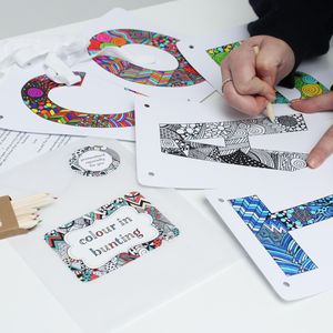 Colour In Personalised Bunting - garlands & bunting