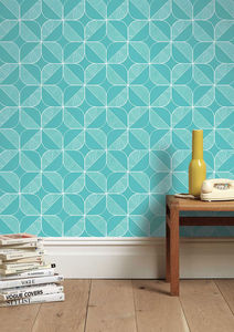 Rosette In Teal Wallpaper - home decorating