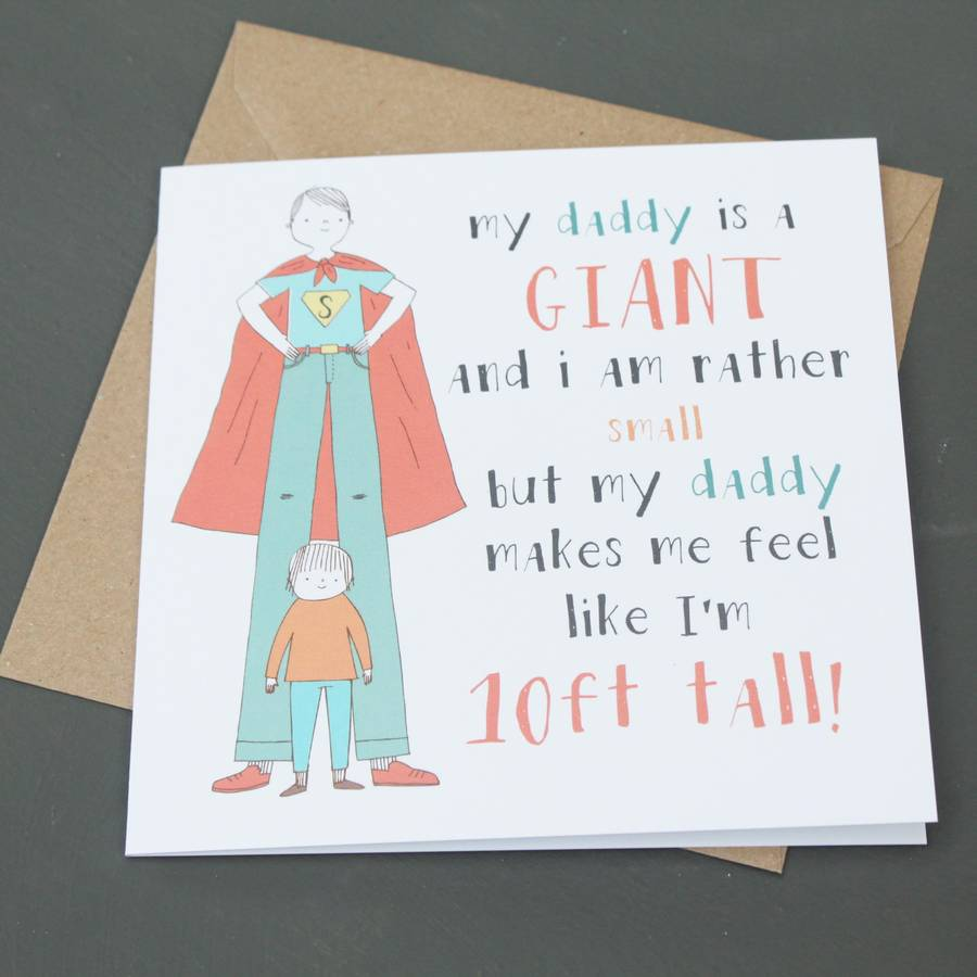 Daddy Is A Giant Fathers Day Card By Lou Brown Designs