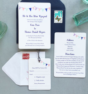Summer Festival Bunting Wedding Stationery - invitations