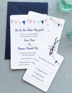 Summer Festival Bunting Wedding Stationery