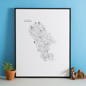 Islington Hand Drawn Map Print - prints & art sale