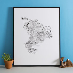 Hackney Hand Drawn London Map Print - less ordinary wall art