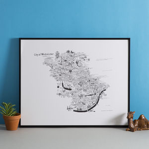 Westminster Hand Drawn London Map Print - contemporary art