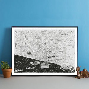 Brighton And Hove Hand Drawn Map Print - posters & prints