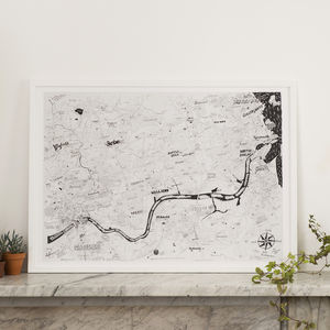 Newcastle To The Coast Hand Drawn Map Print - treasured locations & memories