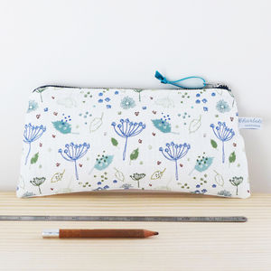 Long Blue Parsley Zip Pouch - make-up & wash bags