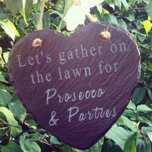 Prosecco And Parties Heart Slate Decoration