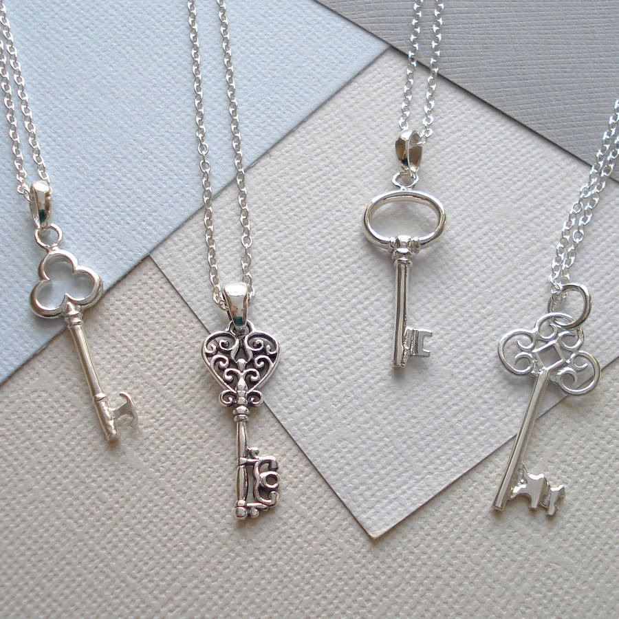 sterling silver key necklace by mia belle | notonthehighstreet.com