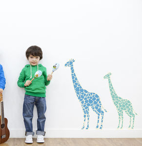 Colourful Giraffe Fabric Wall Stickers
