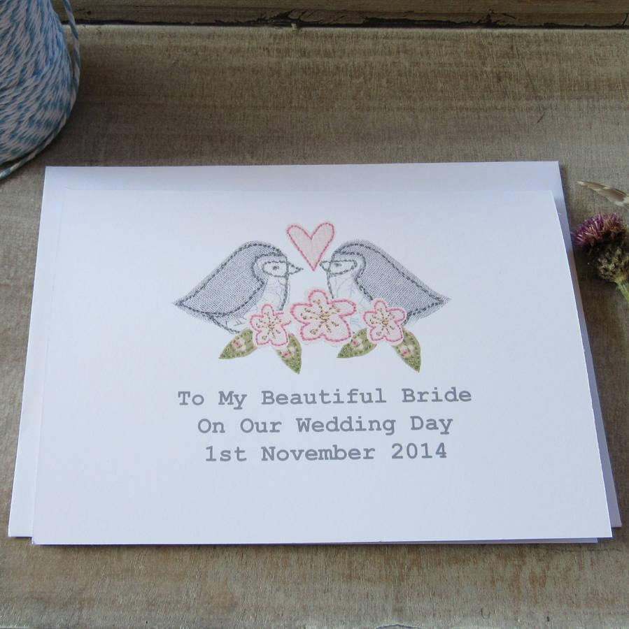 personalised bride groom wedding day card by caroline watts