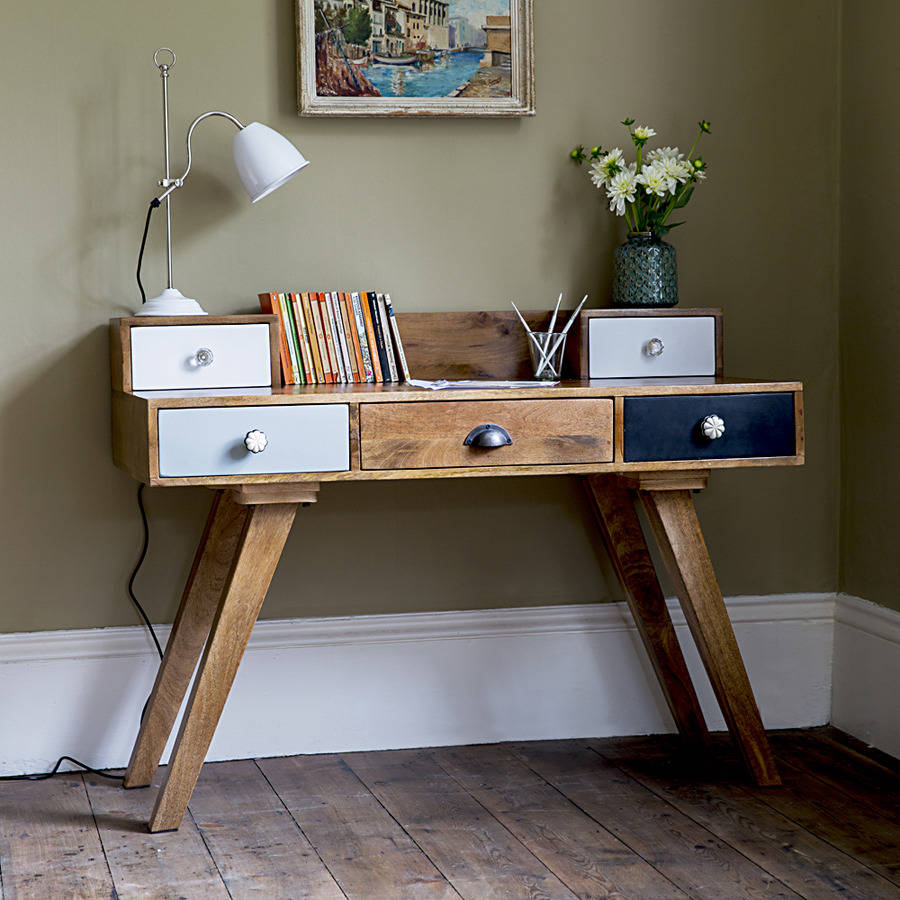 Milligan Retro Multi Drawer Desk By Atkin And Thyme