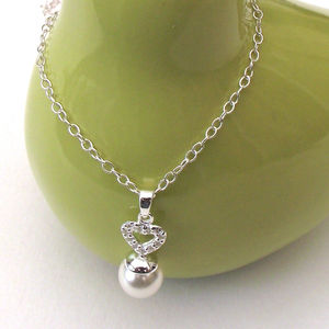 Silver Heart With Cz And Pearl Necklace