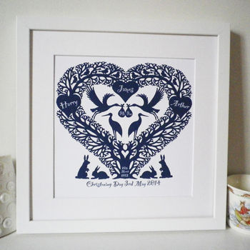 Personalised New Baby Stork Tree Heart Print